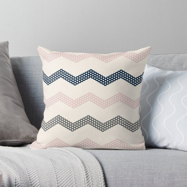 Honeycomb Chevron in Navy Blue, Blush Pink, Champagne Ivory Beige, and Charcoal Grey. Minimalist Geometric Zigzag Pattern. Throw Pillow
