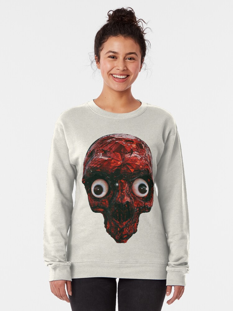Alternate view of BOO BOO RED SKULL WITH EYES  Pullover Sweatshirt