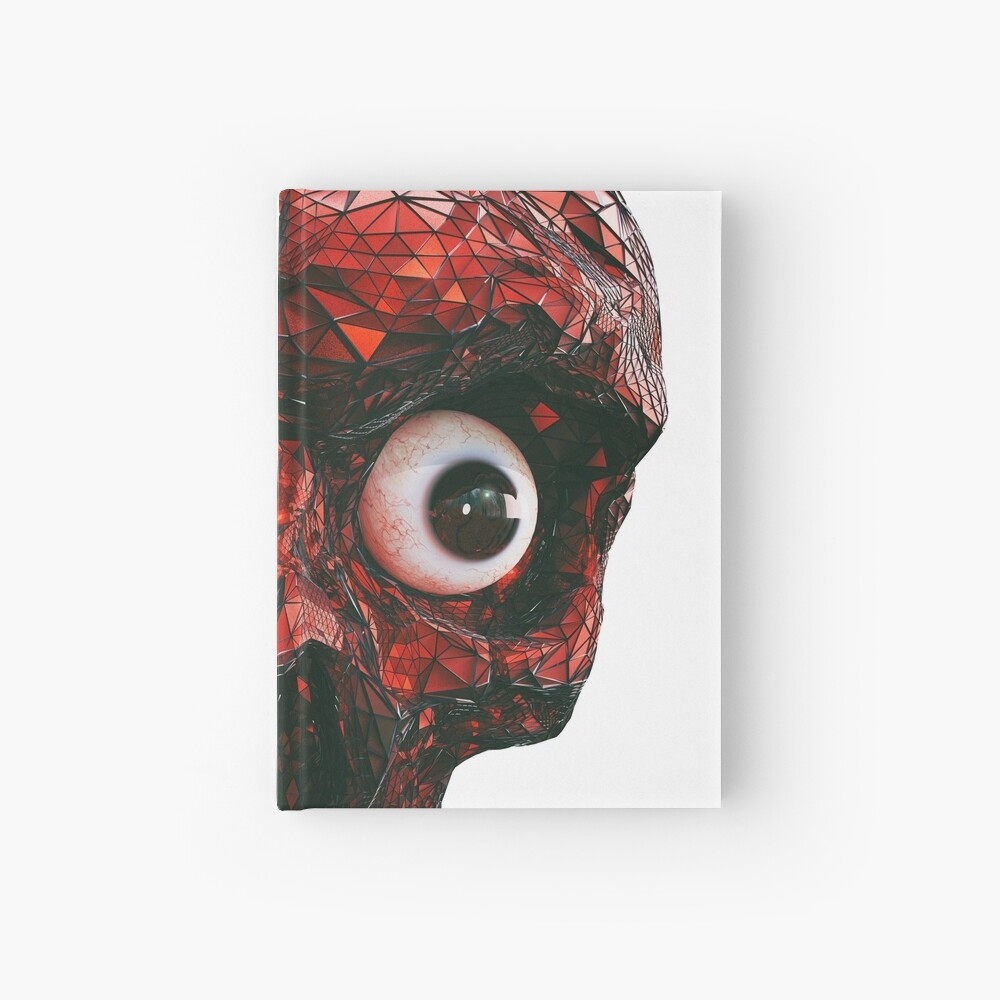 BOO BOO RED SKULL WITH EYES  Hardcover Journal