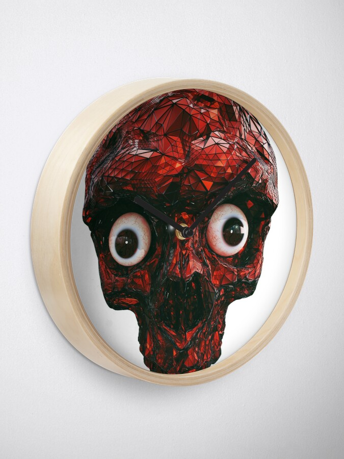 Alternate view of BOO BOO RED SKULL WITH EYES  Clock