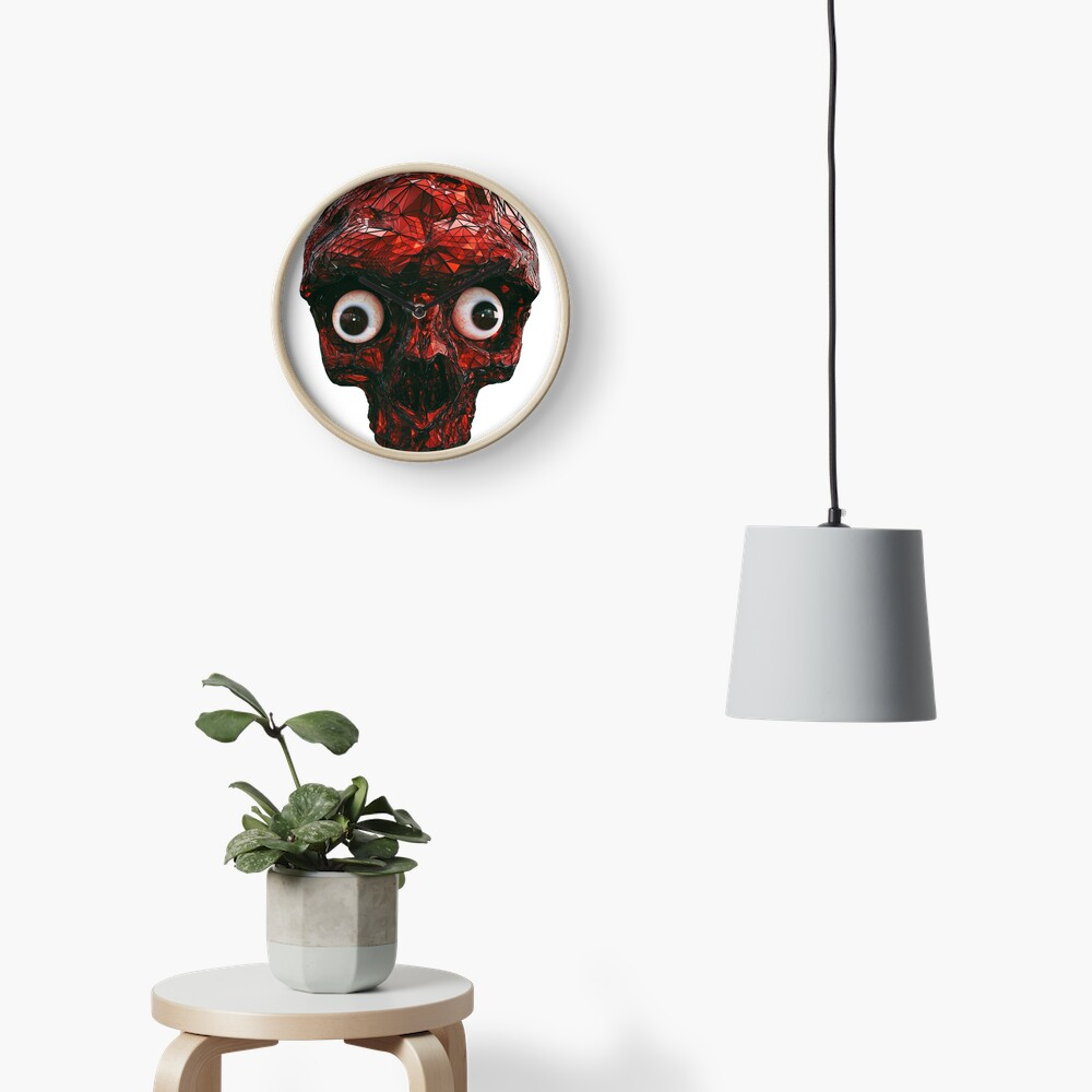 BOO BOO RED SKULL WITH EYES  Clock
