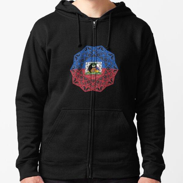 BLACK-OD Mens Haitian Haiti Skull Flag Long Sleeve Hooded Pullover Sweatshirts 3D Printed Funny Hoodies
