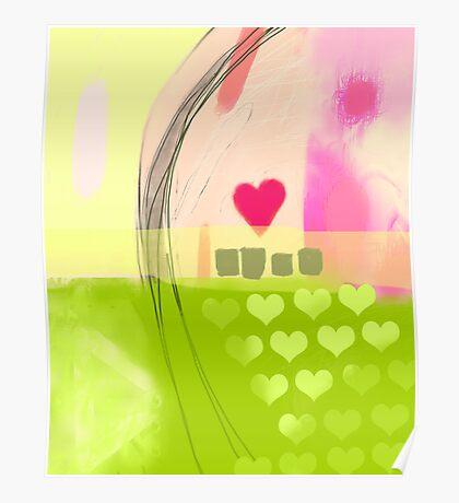 Corner of pink heart Poster