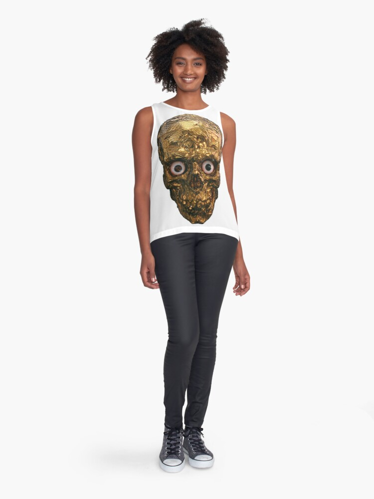 Alternate view of BOO BOO GOLD SKULL WITH EYES Sleeveless Top