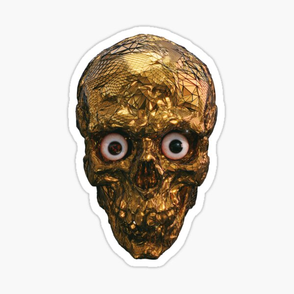 BOO BOO GOLD SKULL WITH EYES Sticker