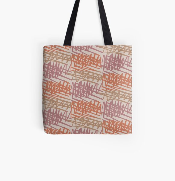 Scribbled Impatience 2 | Neutral Colors Pattern All Over Print Tote Bag