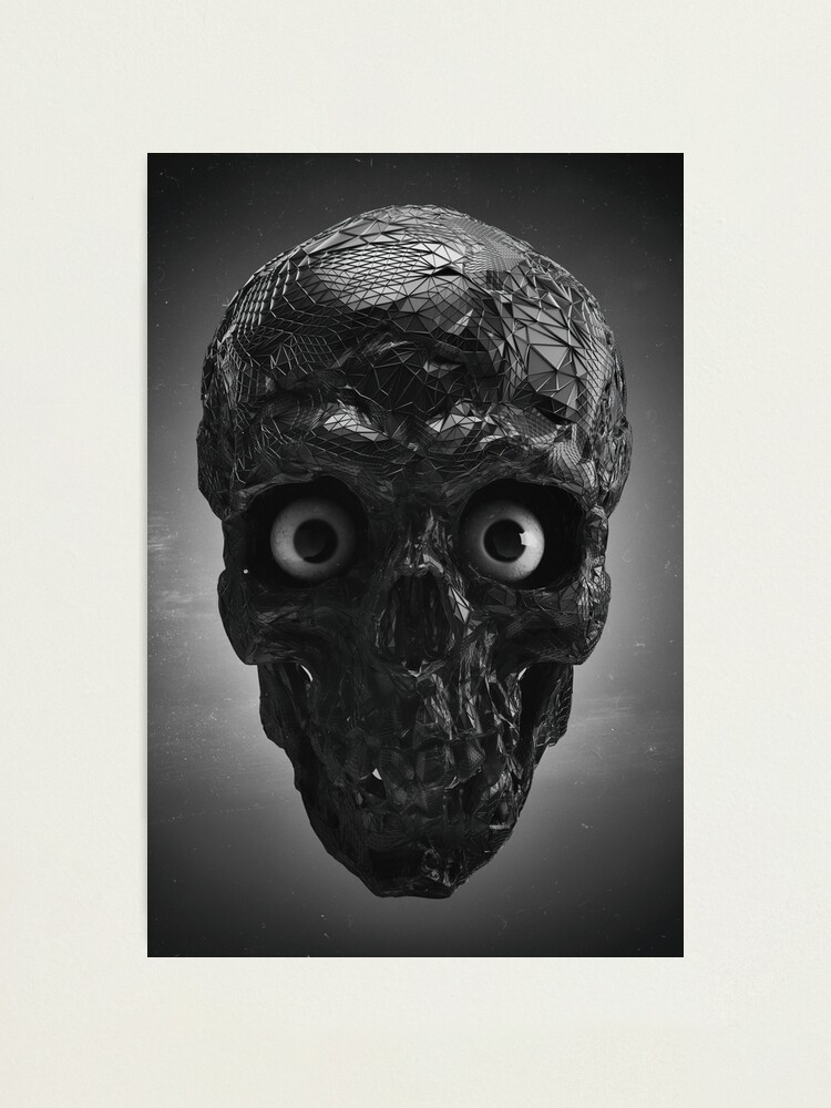 Alternate view of  BOO BOO BLACK & WHITE SKULL WITH EYES Photographic Print