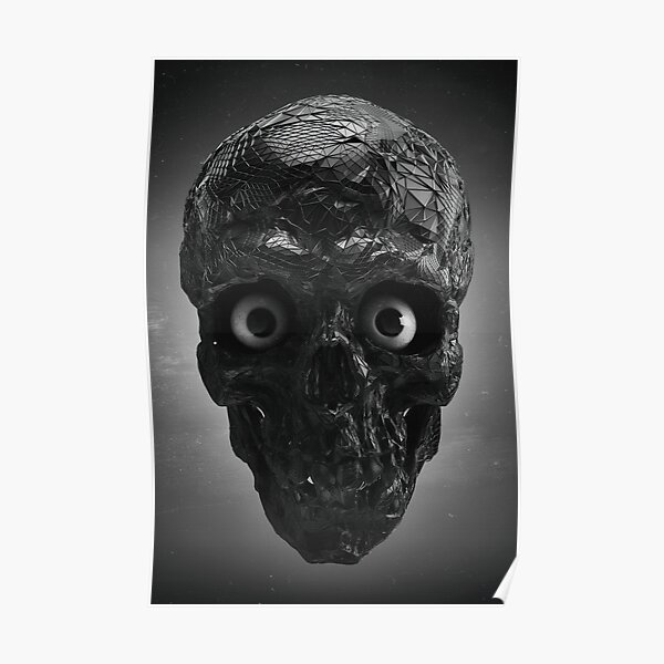 BOO BOO BLACK & WHITE SKULL WITH EYES Poster