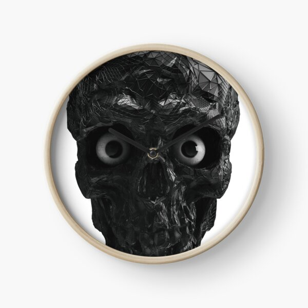 BOO BOO BLACK & WHITE SKULL WITH EYES Clock