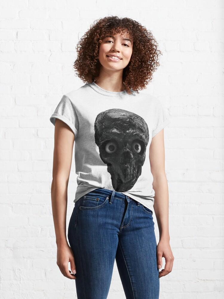 Alternate view of  BOO BOO BLACK & WHITE SKULL WITH EYES Classic T-Shirt