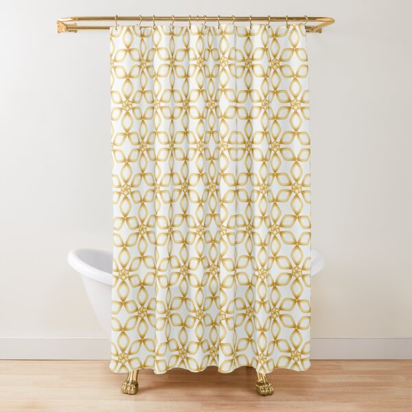 color white and gold / gold Shower Curtain