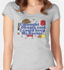 Matt Smith is leaving. Obama lied to us.  Women's Fitted Scoop T-Shirt