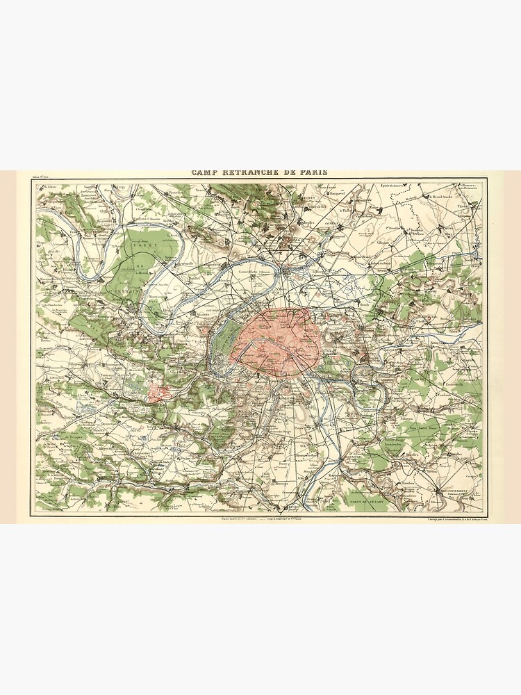 Vintage Paris France Environs Map (1882) by BravuraMedia