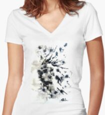 dandelion meadow Women's Fitted V-Neck T-Shirt