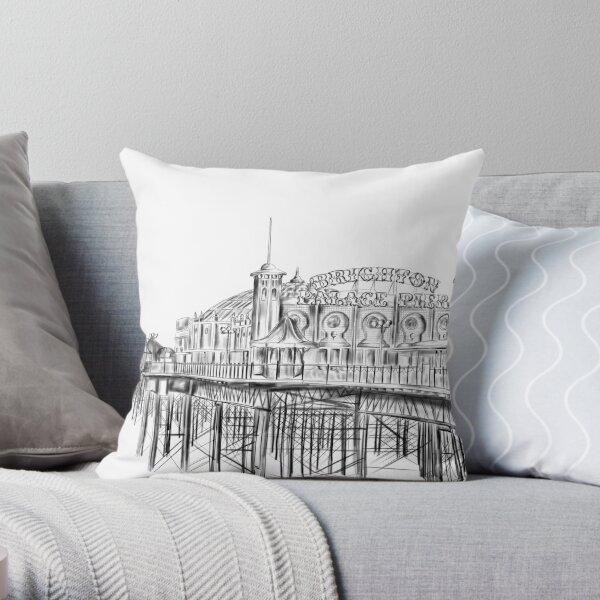 Brighton Pier illustration - Brighton Palace Pier Throw Pillow