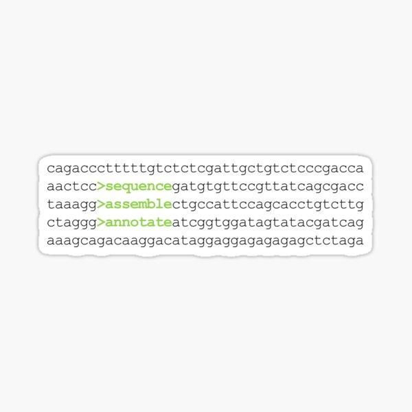 Bioinformatics Genome Sequence Assemble Annotate DNA Green Sticker