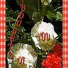 Hollyhocks and Roses by Terri Chandler