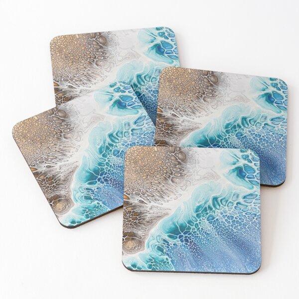 Beach / Ocean Inspired Fluid Art Coasters (Set of 4)