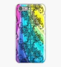 Black Lace Swirling Pastel Rainbow iPhone Case/Skin