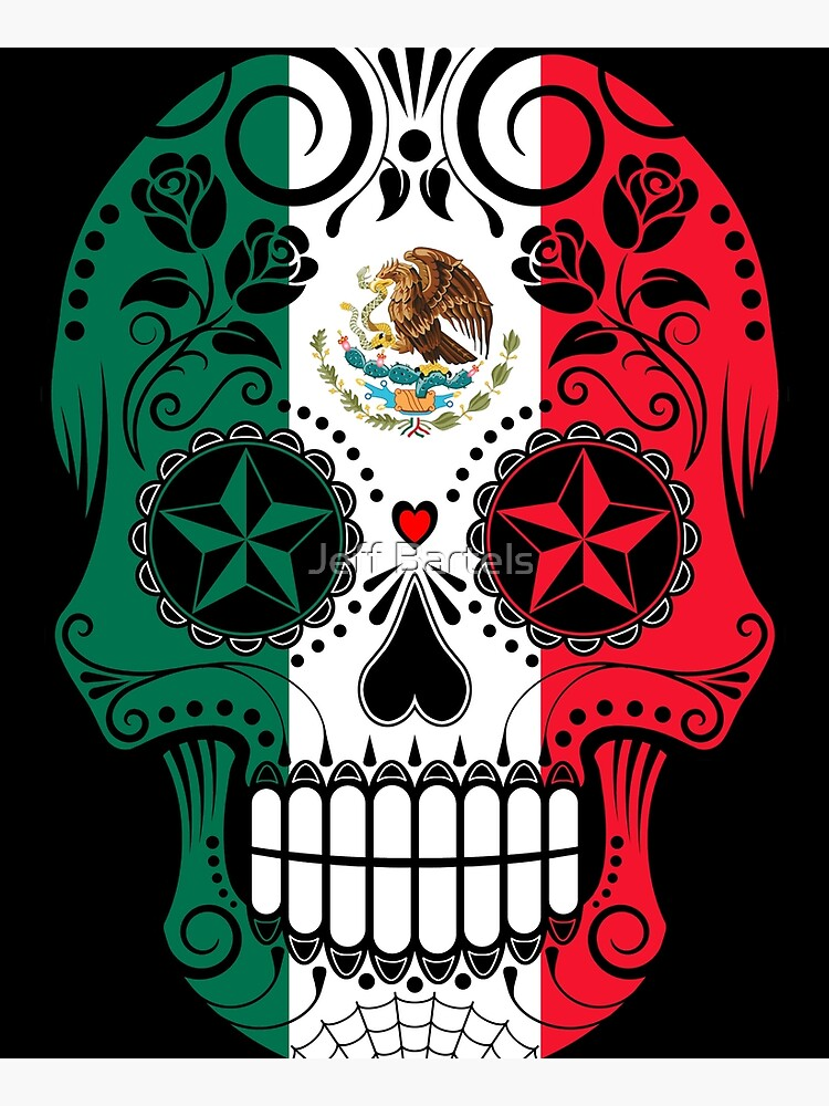 Sugar Skull with Roses and Flag of Mexico by JeffBartels
