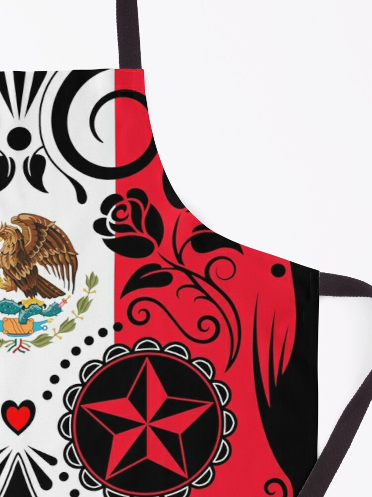 Alternate view of Sugar Skull with Roses and Flag of Mexico Apron