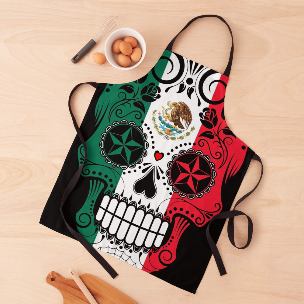 Sugar Skull with Roses and Flag of Mexico Apron