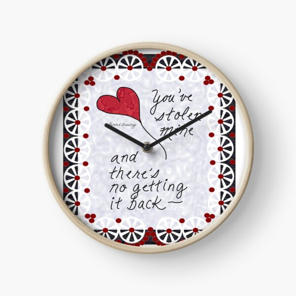 #18CPD Stolen Heart- Red, by Printed Drawings Clock
