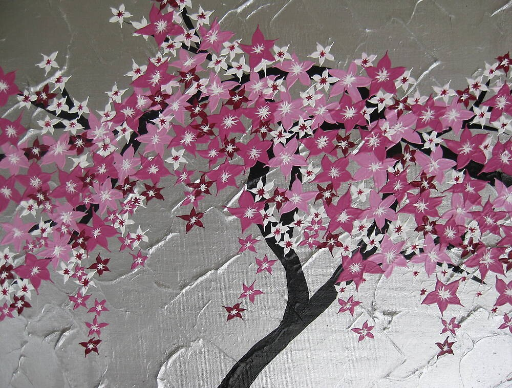 Quot Pink Cherry Blossom Tree From Japan With Silver And White