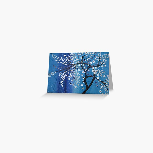 cherry blossom in the snow , blue purple silver white Greeting Card