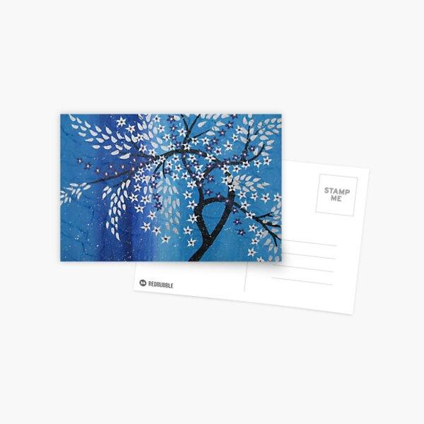 cherry blossom in the snow , blue purple silver white Postcard