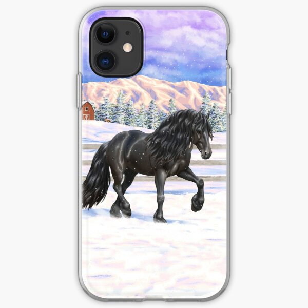 Black Friesian Draft Horse Trotting In Snow iPhone Soft Case