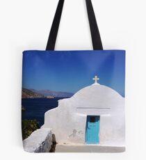 Chapel and seascape, Amorgos Tote Bag