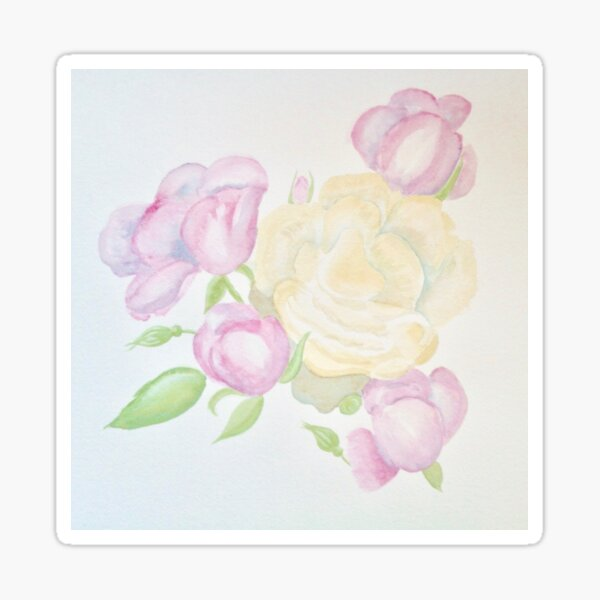 Pink and yellow roses Sticker