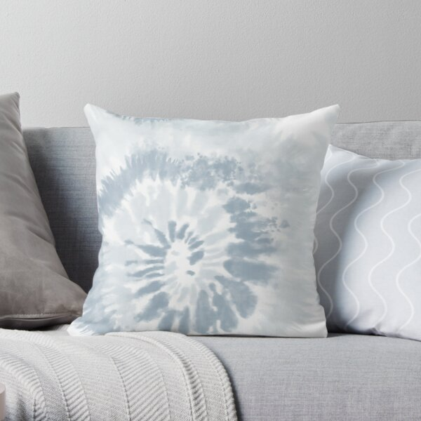 Trendy Pale Blue Swirl Tie Dye Pattern  Throw Pillow