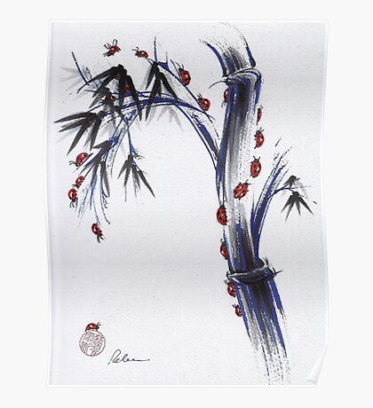 The Journey - Ladybug Bamboo mixed media painting Poster