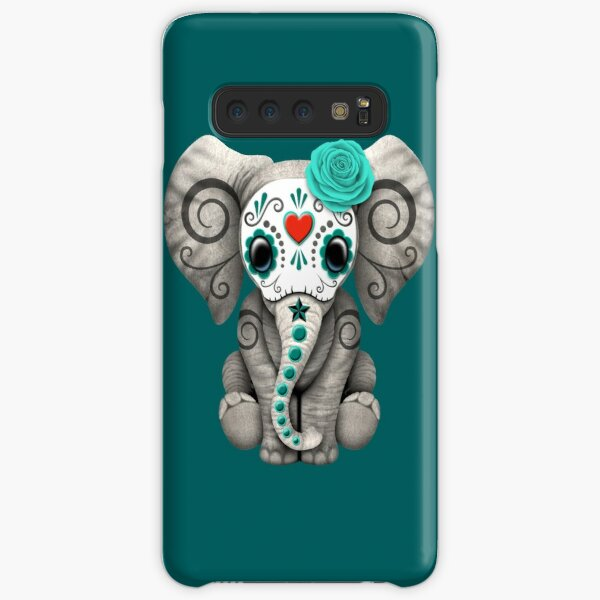 Teal Blue Day of the Dead Sugar Skull Baby Elephant Samsung Galaxy Snap Case
