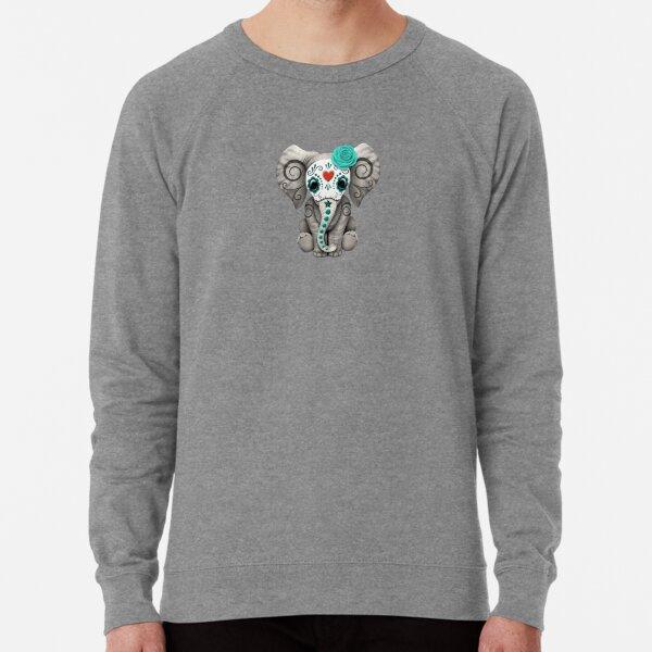 Teal Blue Day of the Dead Sugar Skull Baby Elephant Lightweight Sweatshirt