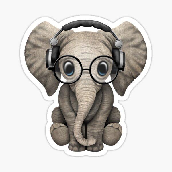 Joli bébé éléphant Dj portant des écouteurs et des lunettes Sticker