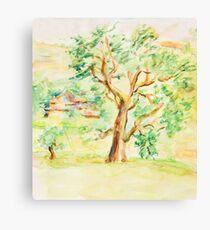 Watercolor Rural Summer Landscape Canvas Print
