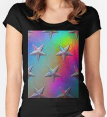 PSYCHEDELIC STARS. Women's Fitted Scoop T-Shirt