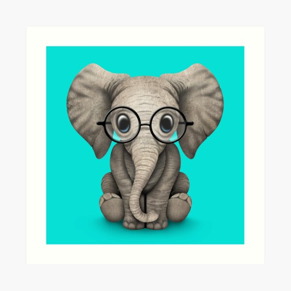 Cute Baby Elephant Calf with Reading Glasses on Blue Art Print