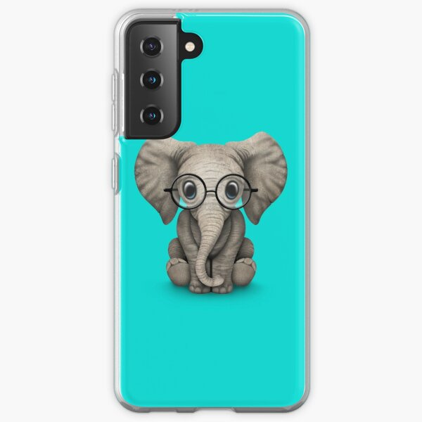 Cute Baby Elephant Calf with Reading Glasses on Blue Samsung Galaxy Soft Case