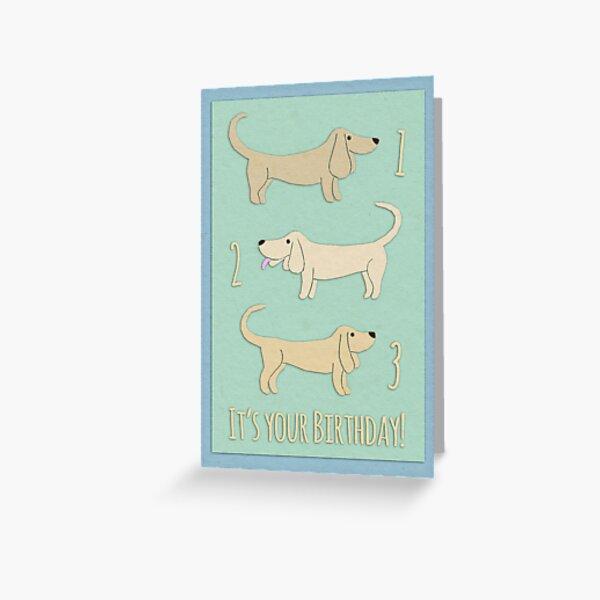 Happy 3rd Birthday Dachshunds Greeting Card