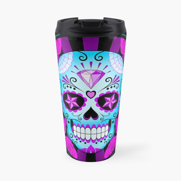 Blue and Purple Sugar Skull with Roses  Travel Mug