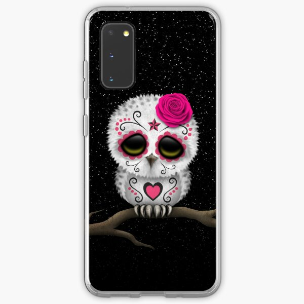 Cute Pink Day of the Dead Sugar Skull Owl Samsung Galaxy Soft Case
