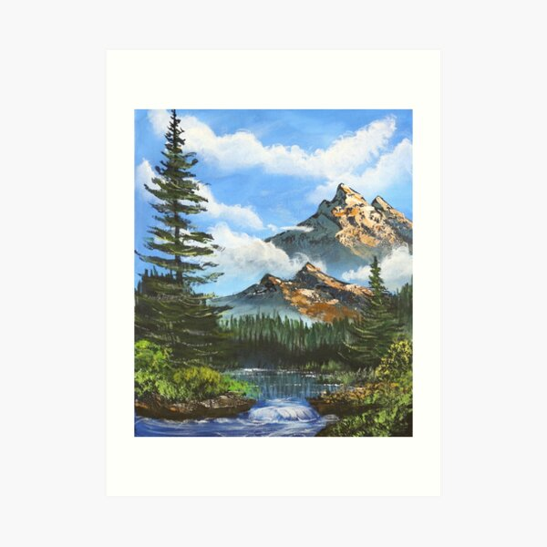 Bob Ross Inspired Landscape - Mountain Art Art Print