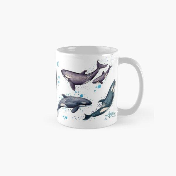 """Orca Pod in Watercolor"" by Amber Marine, Killer Whale Art, © 2019 Classic Mug"