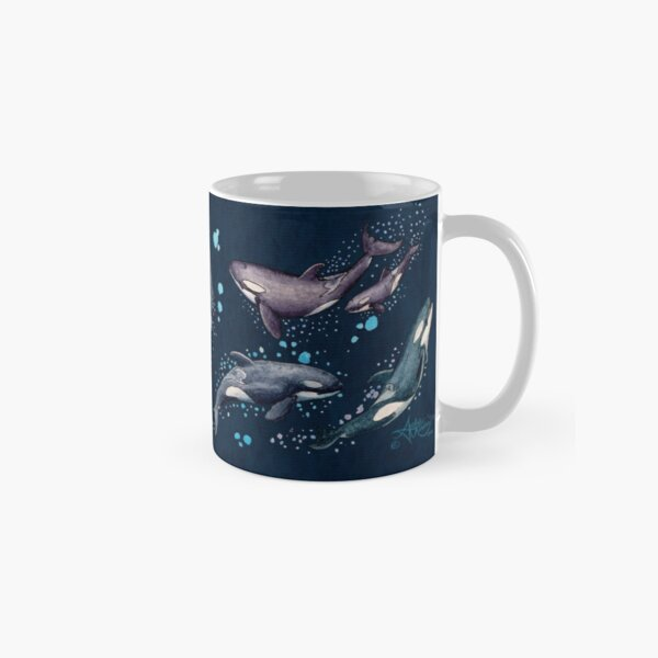 """Orca Pod in Watercolor"" by Amber Marine, (Navy Blue Version) Killer Whale Art, © 2019 Classic Mug"