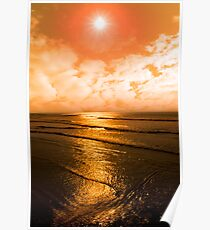 sunset over the sea in Ireland Poster