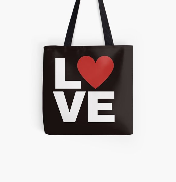 Love with red heart All Over Print Tote Bag